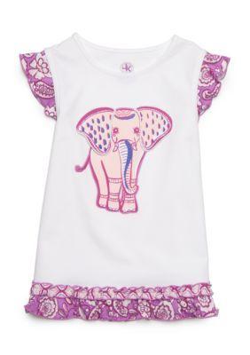 J. Khaki Girls' Elephant Babydoll Top Toddler Girls - White - 4T