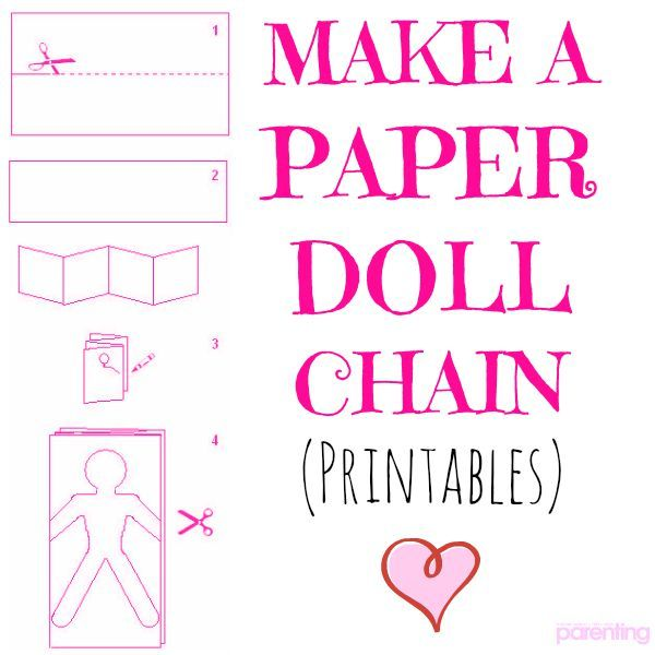 Kids can create this cute paper doll chain with free printable templates! #PaperDoll #DIY #Crafts