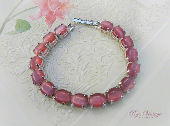 Vintage Avon Pink Cats Eye Bracelet Pink Moonstone Silver
