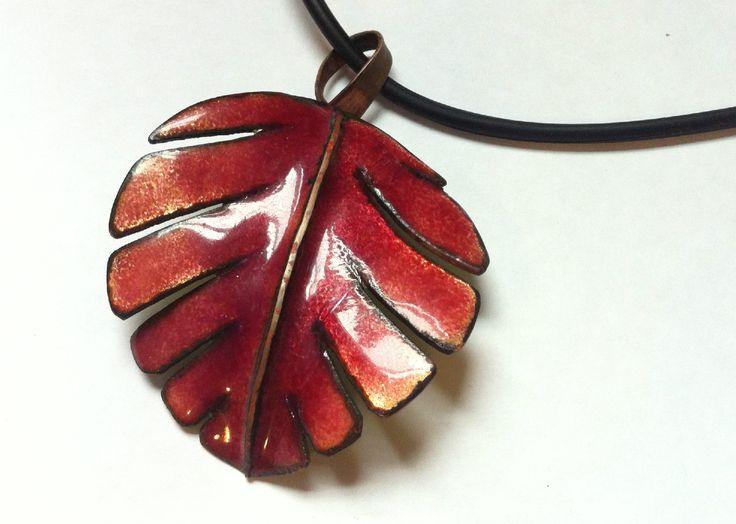 Amanda Lloyd - Autumn Leaf - copper and enamel