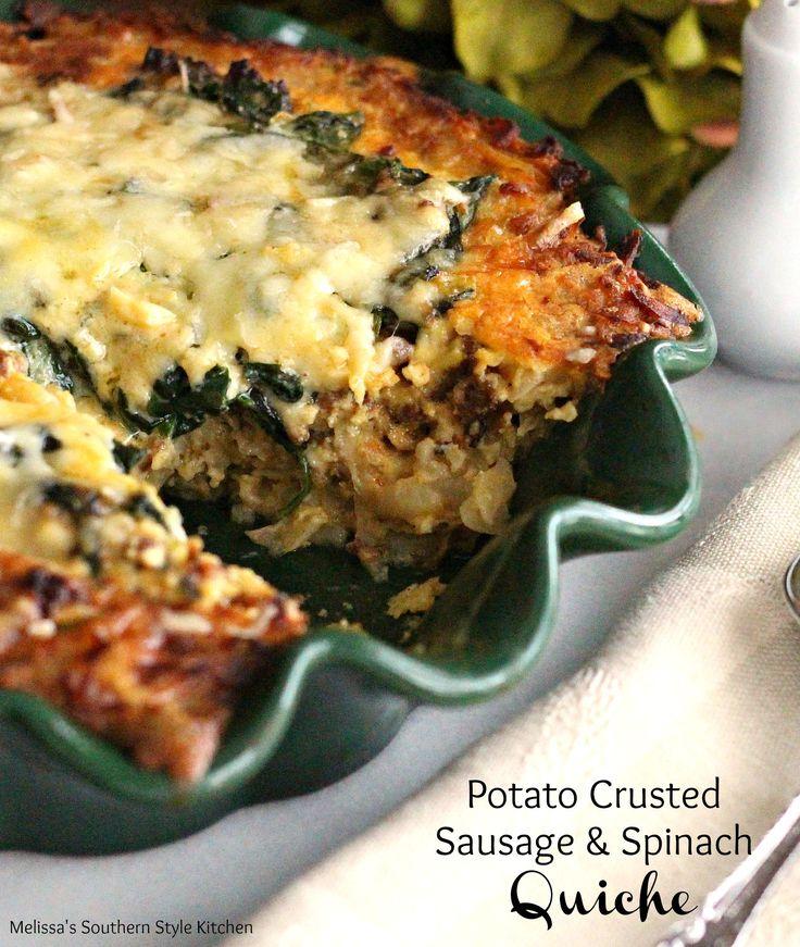 Potato Crusted Sausage And Spinach Quiche
