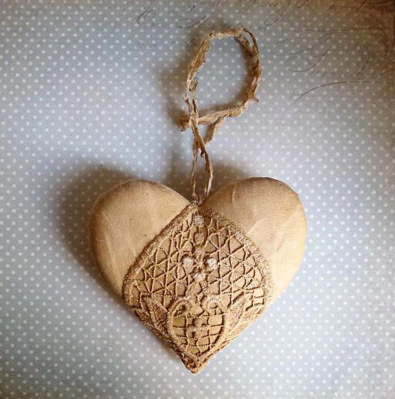 Shabby Chic hearts Primitive heart decoration Decor Cotton