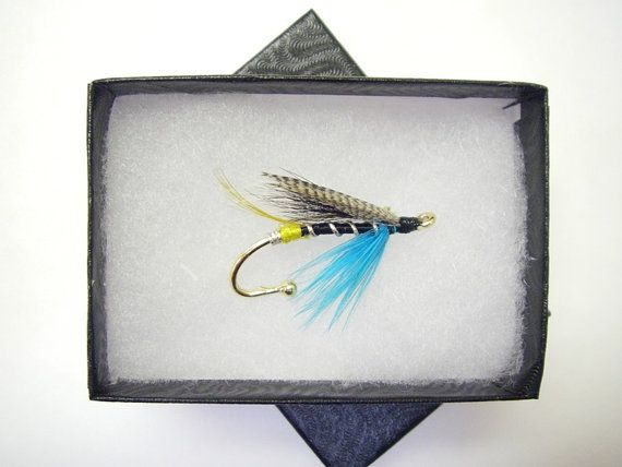Salmon Fly Blue CharmFly fishing Brooch Hat pin by Ayuflytyer
