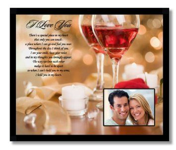 """Special Place in My Heart"" I Love You Valentine Gift For Husband, Wife, Girlfriend or Boyfriend - 8 x 10 inch Frame  Touching poem with beautiful rose and wine glass design will make the special someone in your life know just how much you love them. What better way to say 'I love you' then through a beautiful poem which is framed with a picture of the two of you on it. Your husband or boyfriend will be thrilled by this gift."