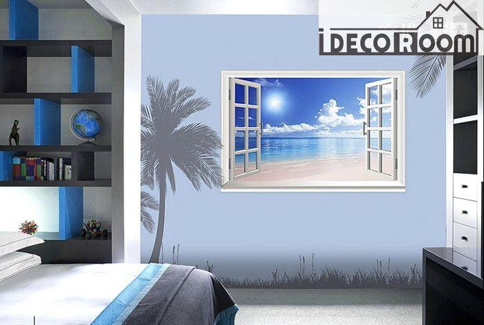 Beach Window wallpaper Wall Decals Wall Deco Indoor wall Mural