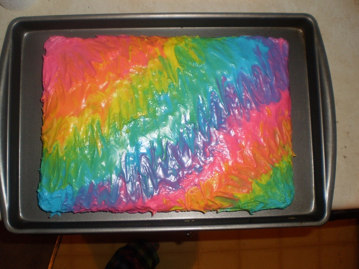 chocolate cake with tie dye frosting things i ve done