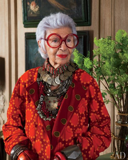 "Iris Apfel: ""Clothes are not frippery. Properly done, they can be an art form. Throughout history clothes represented who you were; they are a great vehicle for explaining who you are. During the Ching dynasty, for example, what you wore and how it was made reflected your status in society. People could literally read your clothes like a book, just by its color and how it was embroidered."" Iris is still alive as of this post 10-15-13...love her perspective!!!"