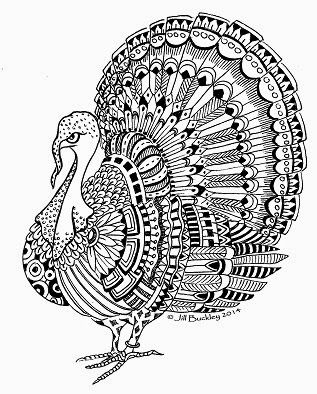 Turkey Abstract Doodle Zentangle Coloring Pages Colouring Adult Detailed Advanced Printable Thanksgiving Holiday