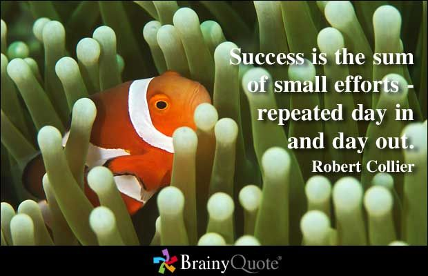 Success is the sum of small efforts - repeated day in and day out. - Robert Collier