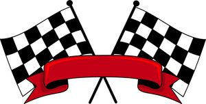 Checkered Flags Clipart Image: Auto Racing Checkered Flags with the Red Banner in Front