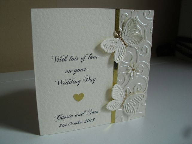 Handmade Personalised Wedding Card. Bride To Be on your wedding day