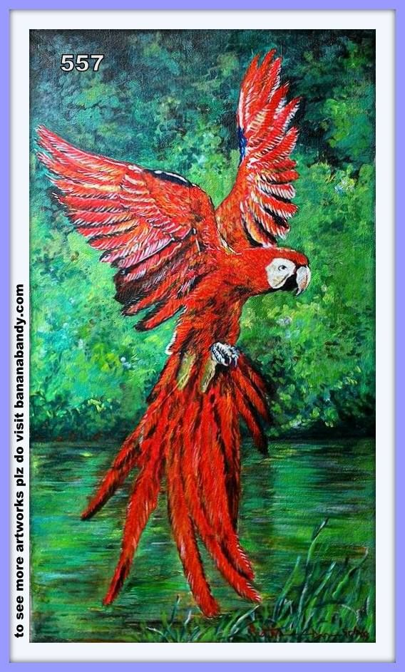 ***FOR BETTER VIEW USE FULLSCREEN PLEASE*** FOREIGN BIRDS ON MY CANVAS # 25/557.. SCARLET MACAW... ACRYLIC ON CANVAS[First time]... 15INCH*26INCH, WITHOUT FRAME... 2015 ... Courtesy: Pinterest...The scarlet macaw (Ara macao) is a large, red, yellow and blue South American parrot, a member of a large group of Neotropical parrots called macaws. It is native to humid evergreen forests of tropical South America. Range extends from extreme south-eastern Mexico to Amazonian Peru, Bolivia…