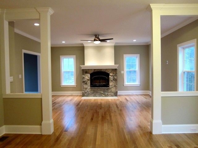 Family room wood trim molding ideas pinterest wall for Fireplace half stone