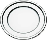 Metallised plastic round chargers or platters from Mozaik by Sabert, perfect for formal parties or dinners. Designed to be disposable but can be reused with careful washing. Looks like metal.