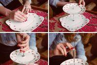DIY Kageopsats - Det kræver bare en boremaskine, noget gammelt porcelæn og et 3-delt kagefadshåndtag for at lave din helt personlige kageopsats.