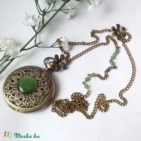 Jade bronz nyaklánc óra , Ékszer, óra, Mindenmás, Nyaklánc, Karóra, óra, Meska