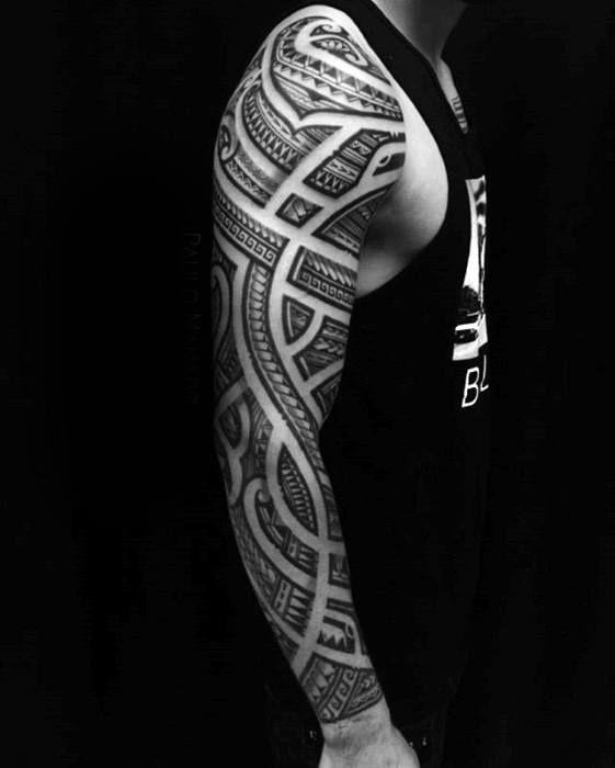 Cool Polynesian Full Arm Sleeve Negative Space Tattoo Design Ideas For Men