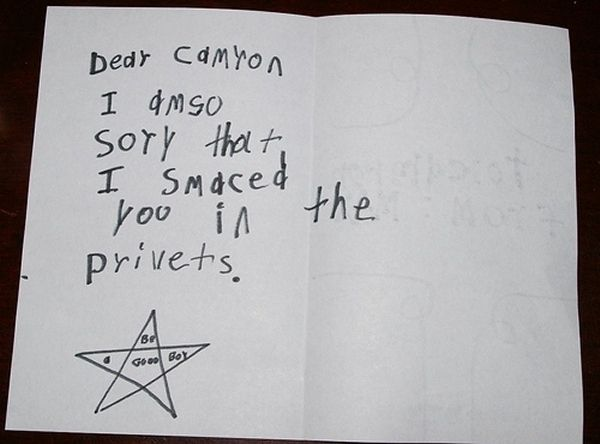 """""""25 Letters Written By Kids"""" - Guaranteed to make your day better... Ot I'll kik yoo in de privats."""