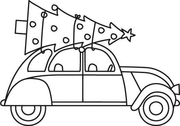 Grote Kleurplaten Kerstboom.Auto Met Kerstboom Stempel Kerst Ramen Kerst Knutselen En