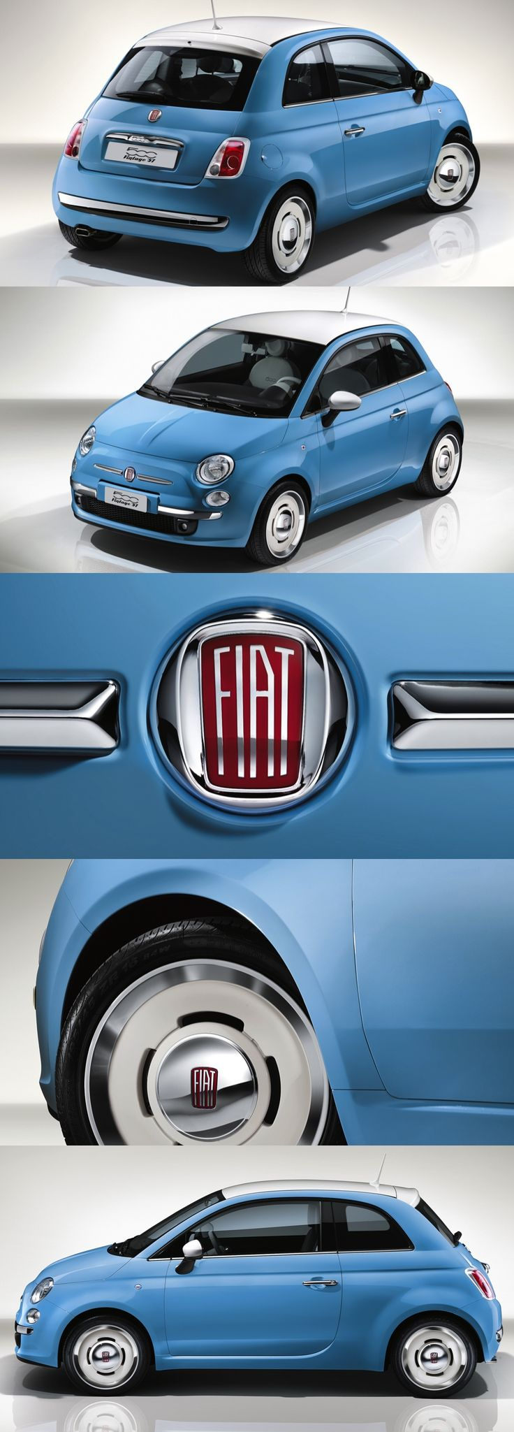Fiat 500 Vintage'57 Even More Retro  New FIAT 500 VINTAGE '57 a celebration of the original 1957 car.  Set to debut at the 2015 Geneva Motor Show (March 3). The VINTAGE '57 is a contemporary interpretation of the design cues that gave the original Fiat 500 its distinctive identity. #fiat500 #Fiat #retro #fun