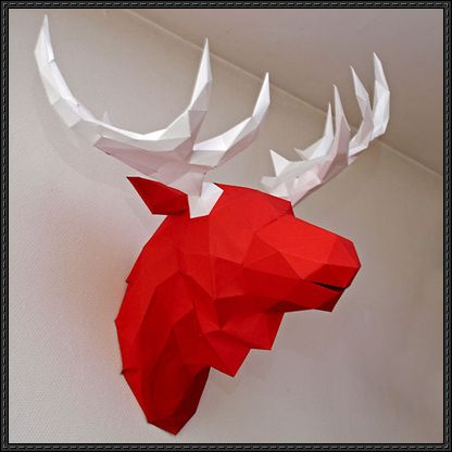 Moose Head Wall Hanging Free Paper Craft Download - http://www.papercraftsquare.com/moose-head-wall-hanging-free-paper-craft-download.html
