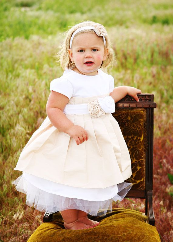 Christening Dress or Baptism Dress or Blessing Dress or Flower Girl Dress   Pleated silk overlay on satin aline dress with tulle underskirt. Rose Sash.     by Leslie Lheron