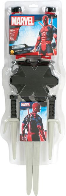 Pre-Order NEW 2015 Deadpool Accessory Kit - Not available to ship from our warehouse YET, but make sure you are the first to get the new Deadpool super hero weapons kit, pre-order now!  Deadpool Accessory Kit includes:  2 ninja swords 2 ninja knives Backpack Practice those martial arts skills with this officially licensed Deadpool weapon kit.  This kit comes with a Deadpool backpack with adjustable straps, two ninja sai knives, and two long kitana Swords. #yyc #costume #weapon #play