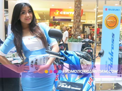 Stylish Promo Girl Costume and uniform that http://Promotionalunifom.com has developed for Suzuki Motorcycle Indonesia