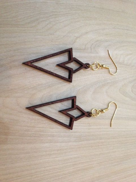 Laser-Cut Wood Earrings - Quest Marker by Lightspire on Etsy
