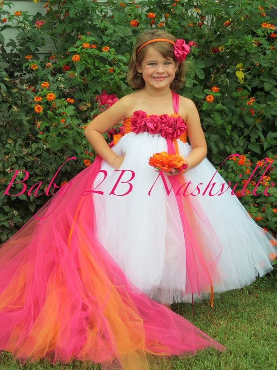 Flower girl dress in white and hot pink baby to 2t with for Pink and orange wedding dresses