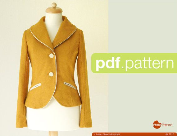 PDF sewing pattern. Women Shawl collar jacket -Luffa- (size 34-42)