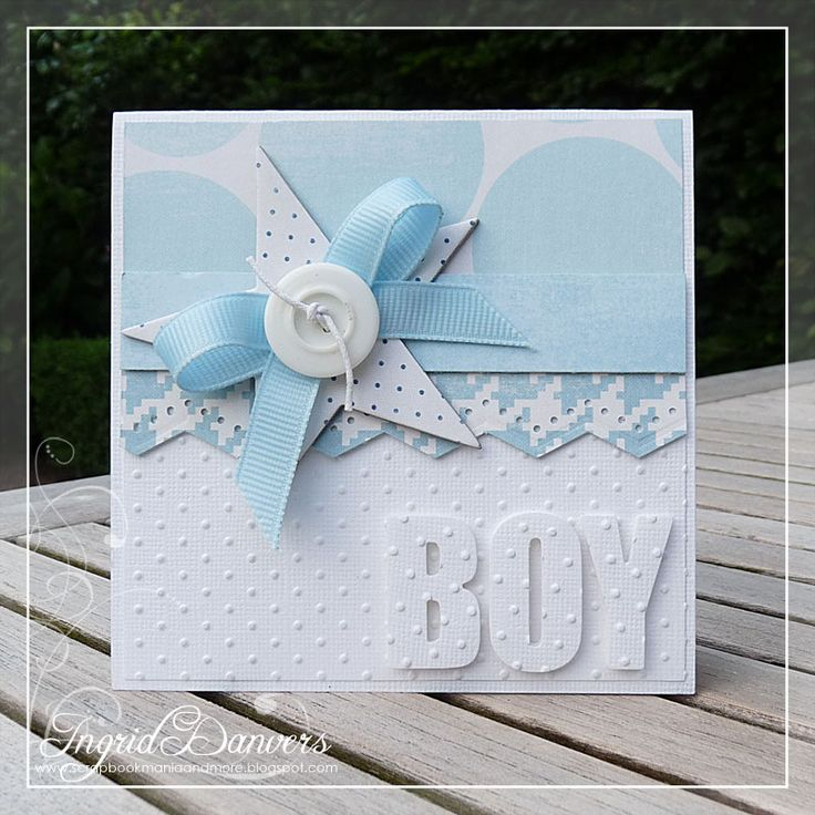 Card Making Ideas Baby Part - 31: Use Blue Polka Dot Card Stock. Baby Boy Blues - Swiss Dots, Star, Button,  Bow And Matching Blue Patterns Make A Sweet Handmade Baby Card.