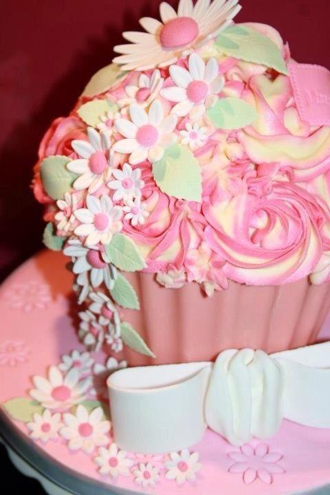 Homemade large cupcake cake