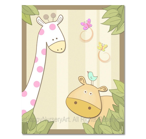 Girls nursery giraffe hippo birds baby room