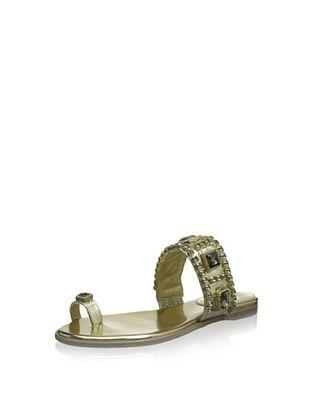 61% OFF Vince Camuto Women's Analisa Flat Gemstone Toe Ring Sandal (Platino)