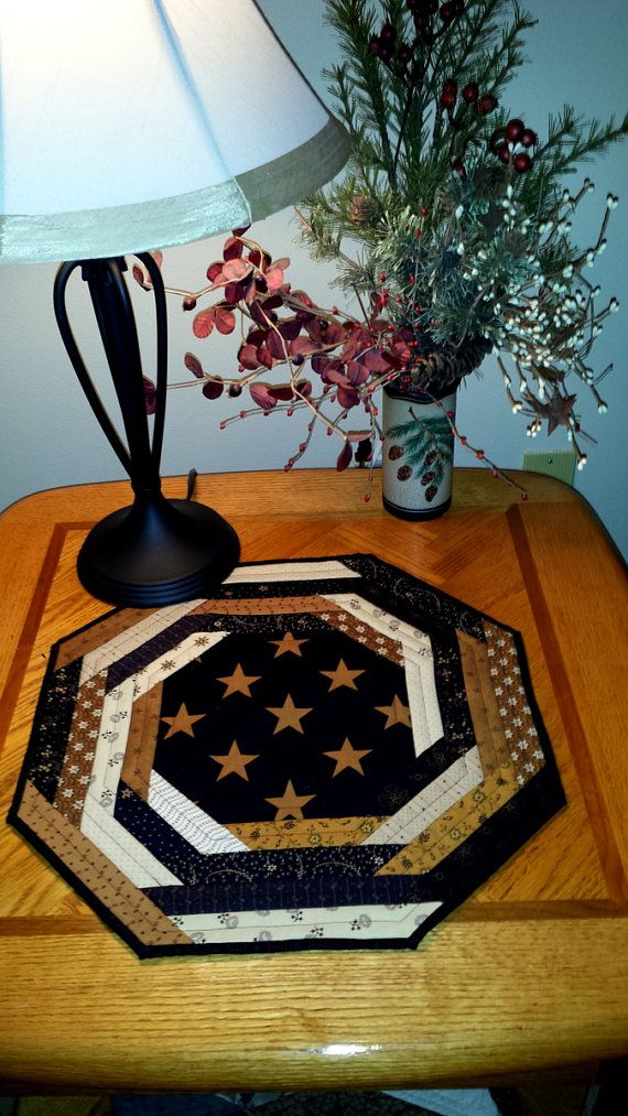 QUILTED TABLE runner OCTAGON shaped Black Gold & by AuntiJoJos