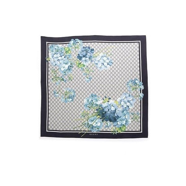 GUCCI Navy Twill Silk Foulard With 'Bloom' Print (5.440 ARS) ❤ liked on Polyvore featuring accessories, scarves, blue, navy blue scarves, navy blue shawl, gucci scarves, floral print scarves and navy scarves
