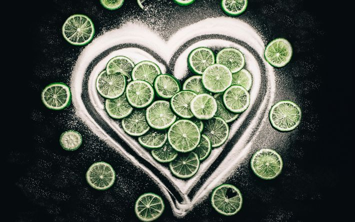 Download wallpapers 4k, limes, sugar, fruits, heart
