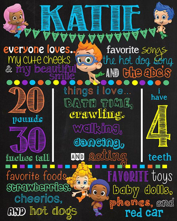 Bubble Guppies Birthday Chalkboard Sign DIGITAL FILE ONLY This item is completely customizable. When you order please indicate anything
