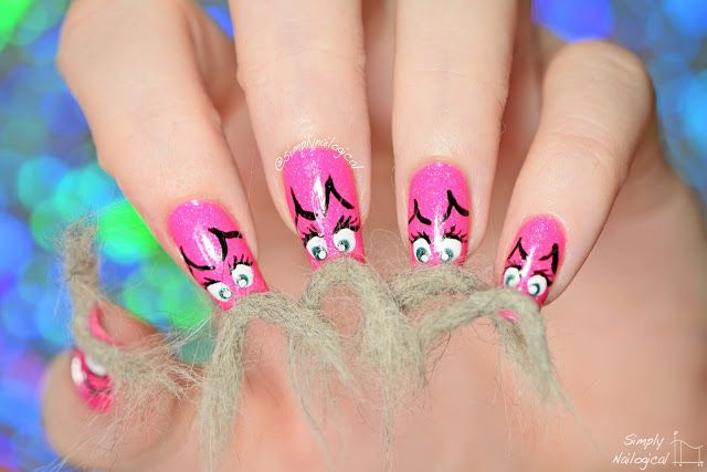 Catstache real cat hair nails for Movemeber by simplynailogical