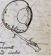 I tooke a bodkine gh & put it betwixt my eye & [the] bone as neare to [the] backside of my eye as I could: & pressing my eye [with the] end of it (soe as to make [the] curvature a, bcdef in my eye) there appeared severall white darke & coloured circles r, s, t,  Which circles were plainest when I continued to rub my eye [with the] point of [the] bodkine, but if I held my eye & [the] bodkin still, though I continued to presse my eye [with] it yet [the] circles would grow faint & often…