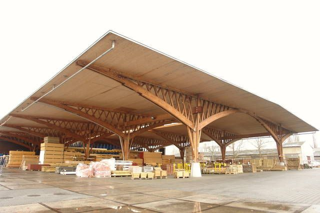 Berlin spandau cobertizo de madera cobertizos pinterest - Estructura madera laminada ...