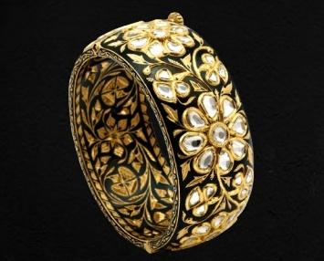Black Enamel Bangle - Sunita Shekhawat with Uncut Diamonds