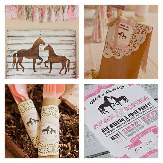 Adorned with horses and abundantly vintage, this is the perfect party kit for any girl. From beginning to end—starting with carefully