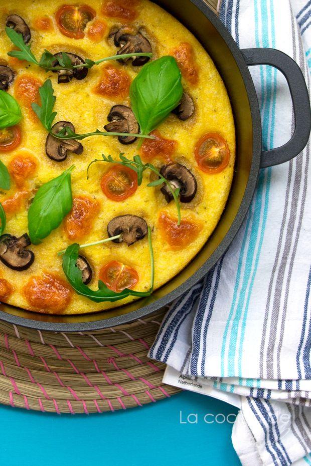 Polenta al horno con champignones, cherries y mozzarella