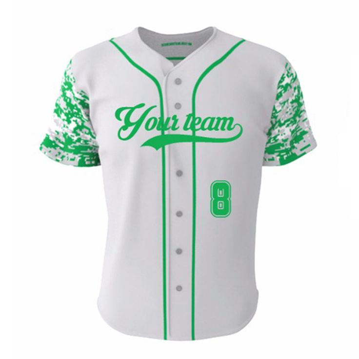 ==> [Free Shipping] Buy Best Light Green Camo Print100% Polyester Slim Fit Baseball Softball Jersey For Men/Women Cheap Wholesale Full Buttons Shirts jerseys Online with LOWEST Price   32740785596