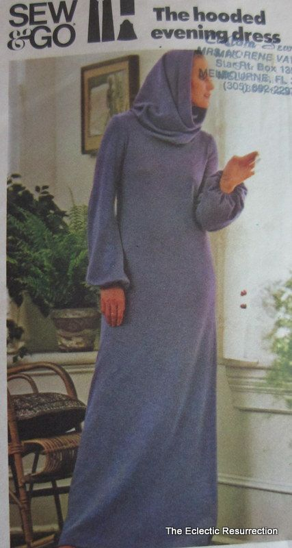 Vintage 1970s Hooded Maxi Dress Pattern-Butterick 4527 Sew The Hooded Evening Dress-Size Large-Factory Folded