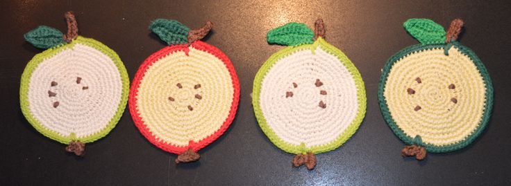 Chrochet apple coasters