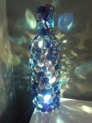 Homemade Nightlight (wine bottle, glass gems, christmas lights)