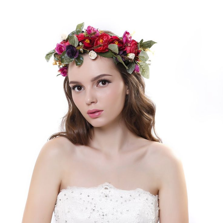 Scala Hot Women Girl Bride Hair Wreaths Flower Headband Camellia Crown Forehead Floral Hair Band for Party Wedding Headband hand wreath (Red) * For more information, visit image link.